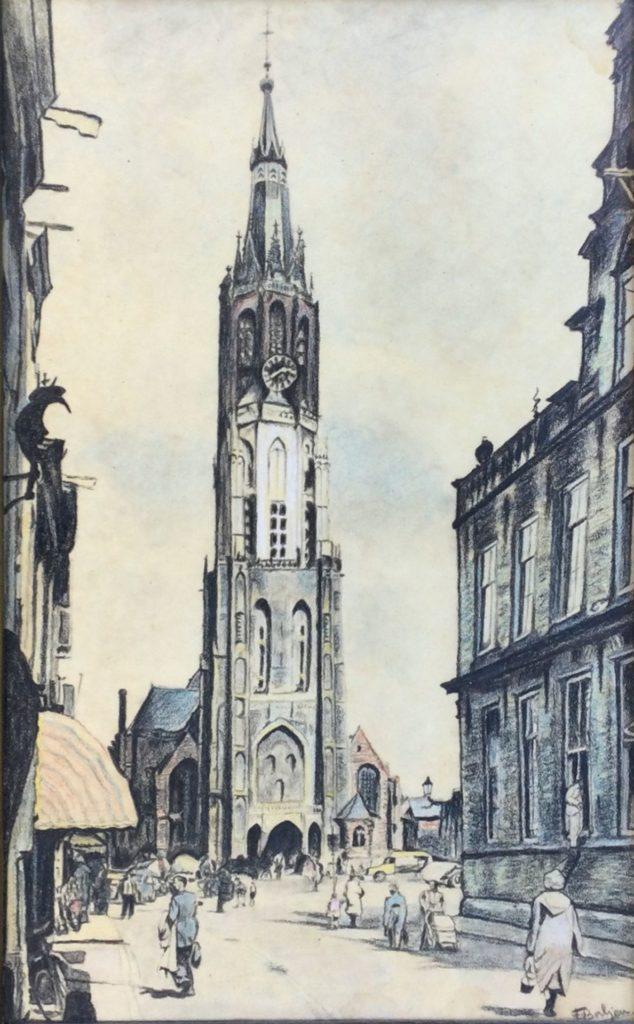 Kunst te koop bij Galerie Wijdemeren van F. Baljon Stadsgezicht potlood op papier, 38 x 23.5 cm rechtsonder gesigneerd