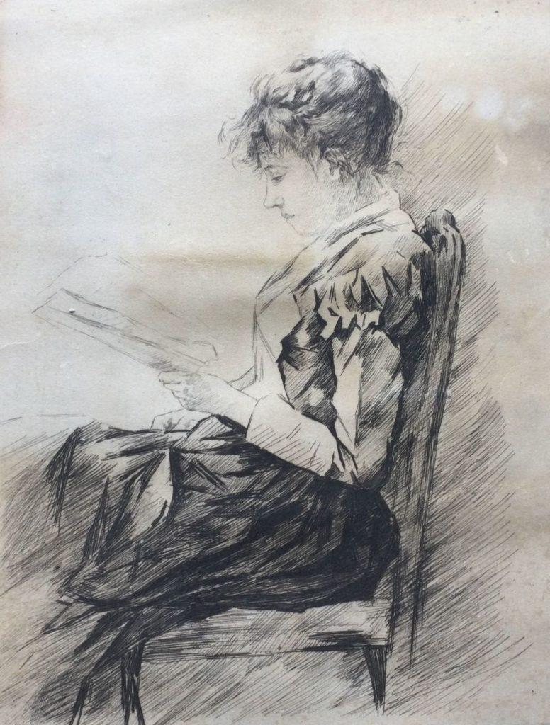 kunst te koop, La Liseuse pas may danse ets, papiermaat 31.5 x 22.5 cm, expositie, galerie wijdemeren breukeleveen