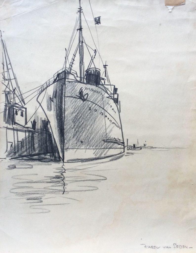 Kunst te koop bij Galerie Wijdemeren van Karel van Seben Schip in de haven houtskool op papier, 30.5 x 24.5 cm