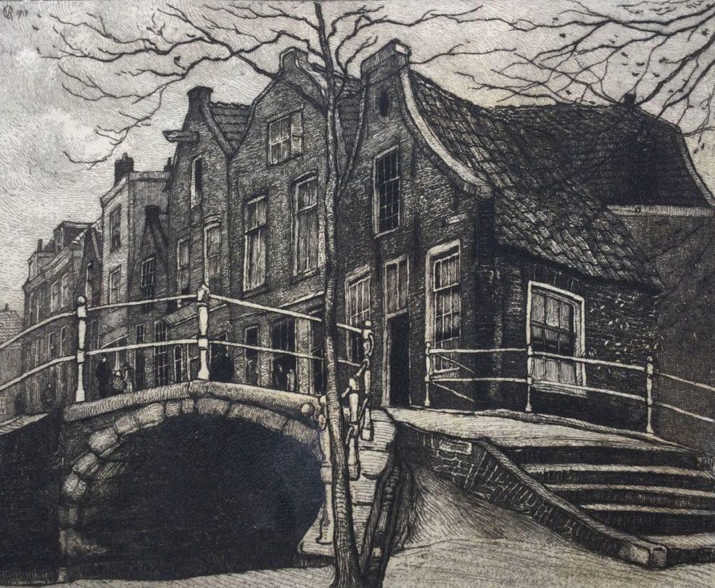 Kunst te koop bij Galerie Wijdemeren van graficus Johannes Graadt van Roggen Brug Delft ets, beeldmaat 12.5 x 15 cm verso gesigneerd