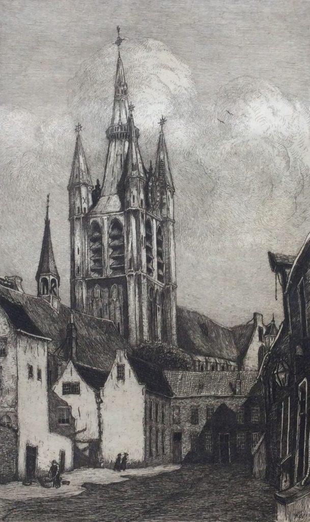 Kunst te koop bij Galerie Wijdemeren van graficus Johannes Graadt van Roggen De Oude Kerk Delft ets, beeldmaat 18.5 x 11.5 cm verso gesigneerd