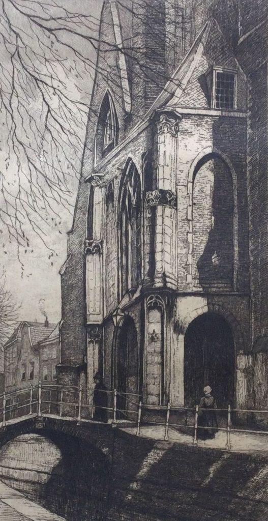 Kunst te koop bij Galerie Wijdemeren van graficus Johannes Graadt van Roggen den Oude Kerk Delft ets, beeldmaat 20.5 x 10.5 cm ongesigneerd