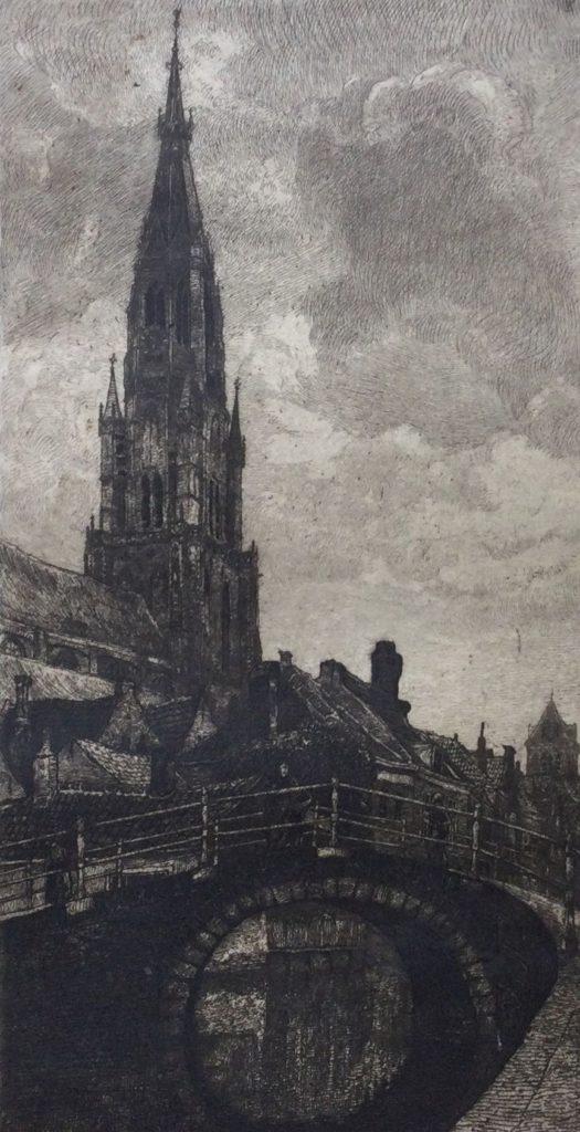 Kunst te koop bij Galerie Wijdemeren van graficus Johannes Graadt van Roggen De Nieuwe Kerk Delft ets, beeldmaat 20.5 x 11.5 cm verso gesigneerd