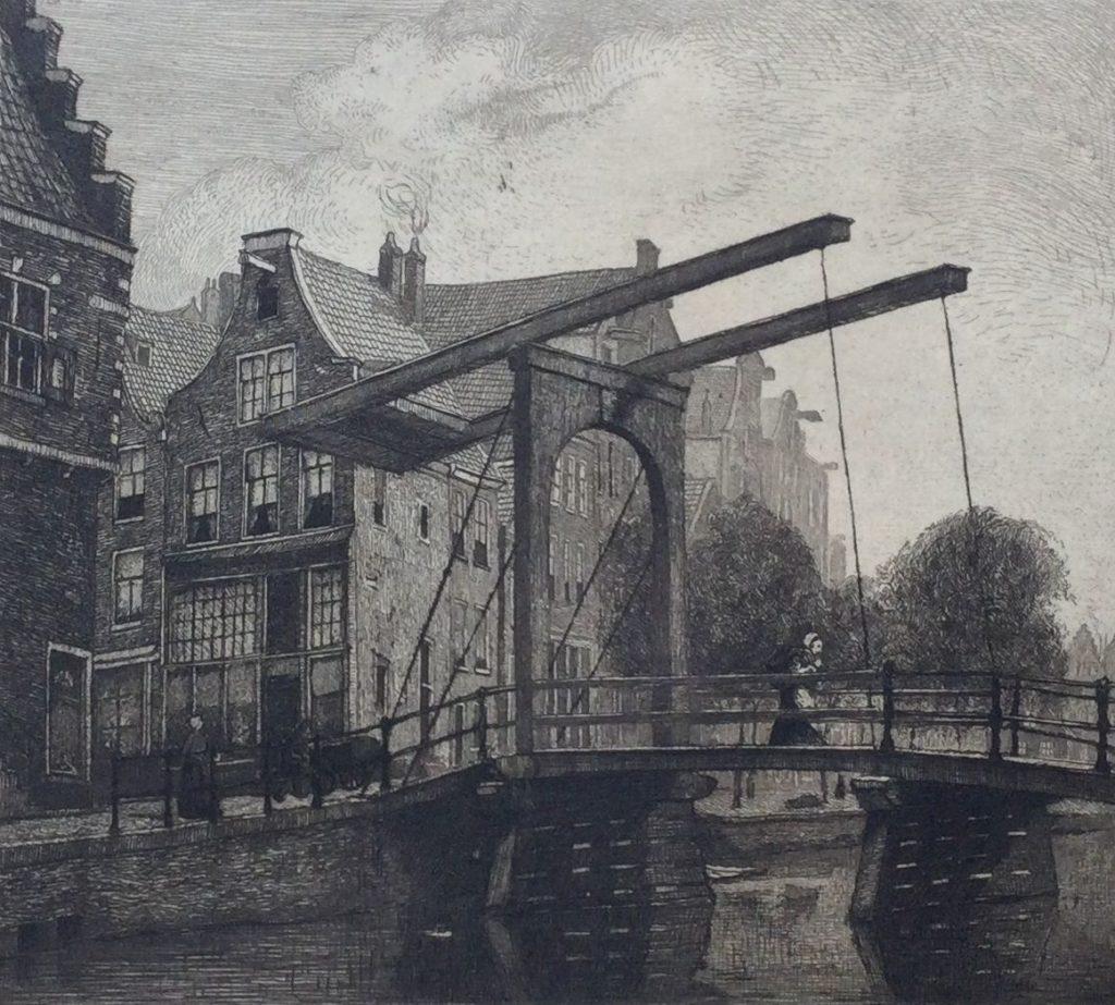 Kunst te koop bij Galerie Wijdemeren van graficus Johannes Graadt van Roggen Groenburgwal Amsterdam ets, beeldmaat 12.5 x 13.5 cm verso gesigneerd