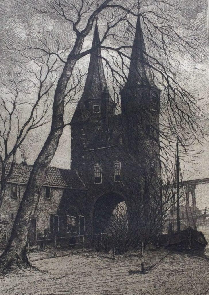 Kunst te koop bij Galerie Wijdemeren van graficus Johannes Graadt van Roggen Oostpoort Delft ets, beeldmaat 16.5 x 11.5 cm verso gesigneerd