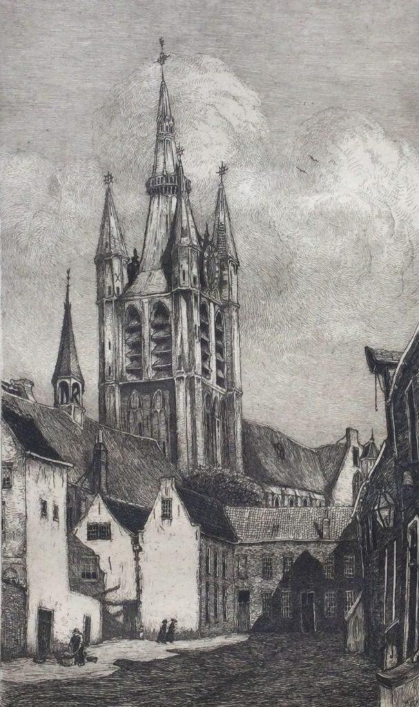 Kunst te koop bij Galerie Wijdemeren van graficus Johannes Graadt van Roggen De Oude Kerk Delft ets, beeldmaat 19 x 11 cm verso gesigneerd