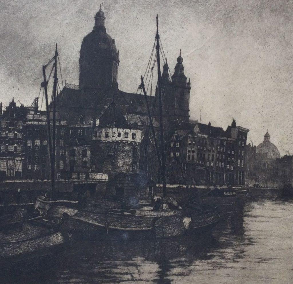 schilderijen te koop van kunstschilder, Johannes Graadt van Roggen Schreierstoren Amsterdam ets, beeldmaat 16 x 16.5 cm verso gesigneerd, expositie, galerie wijdemeren breukeleveen