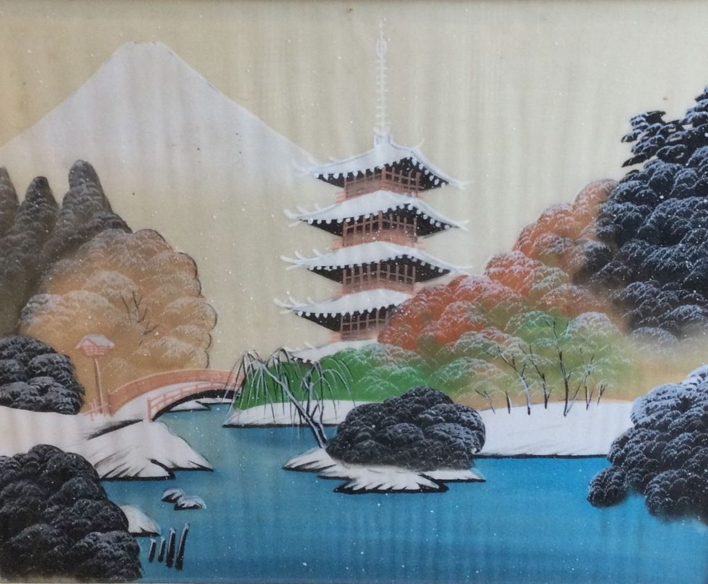 Kunst te koop bij Galerie Wijdemeren, waaronder ook dit Aziatisch landschap in de winter zeefdruk, 34.5 x 41.5 cm
