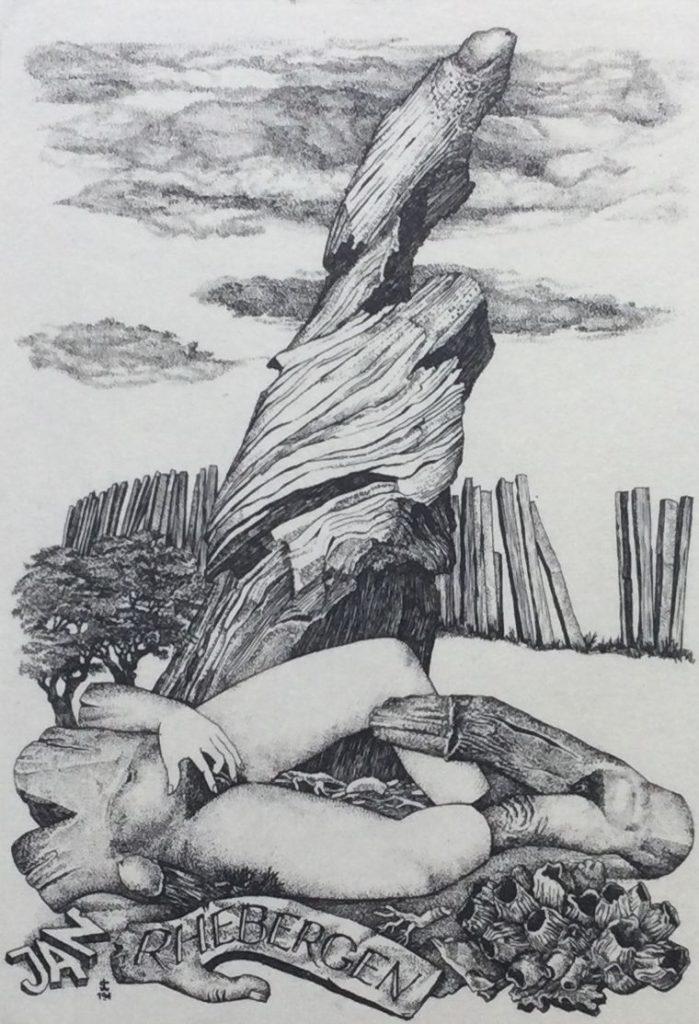 Kunst te koop bij Galerie Wijdemeren van kunstenaar Lou Strik Ex Libris Jan Rhiebergen ets, 12 x 8 cm rechtsonder handgesigneerd, oplage 31/100