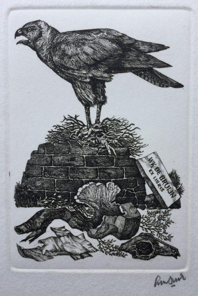 Kunst te koop bij galerie Wijdemeren van Lou Strik Ex Libris W.K. de Bruijn ets, beeldmaat 14.5 x 11 cm