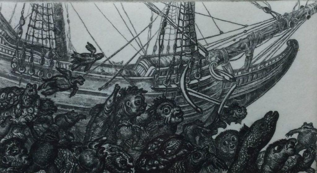 Kunst te koop bij Galerie Wijdemeren van A.F. Kuyper Zeemonsters ets,7.5 x 11.5 cm oplage 2/25, linksonder handgesigneerd