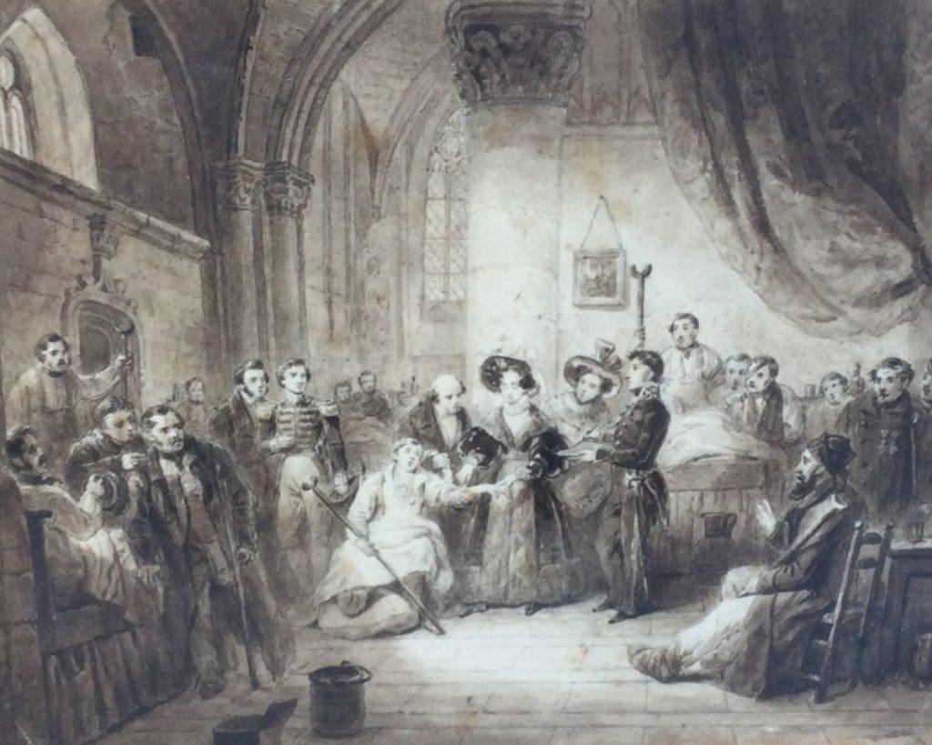 Kunst te koop bij Galerie Wijdemeren, waaronder ook Adellijke figuren in interieur 19de eeuwse inkttekening, 24 x 29 cm