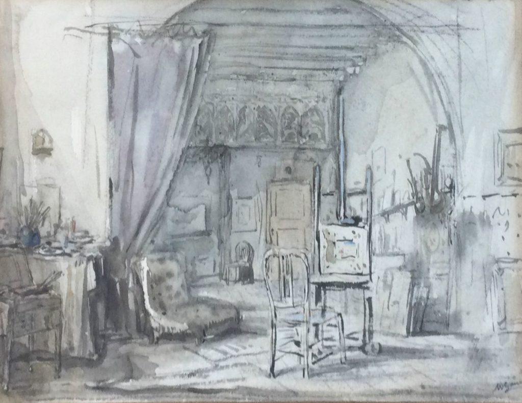 Kunst te koop bij Galerie Wijdemeren van kunstschilder Marius Bauer Atelier van de schilder gemengde techniek op papier, beeldmaat 22 x 29.5 cm rechtsonder gesigneerd herkomst: Villa Stamboul, Aerdenhout