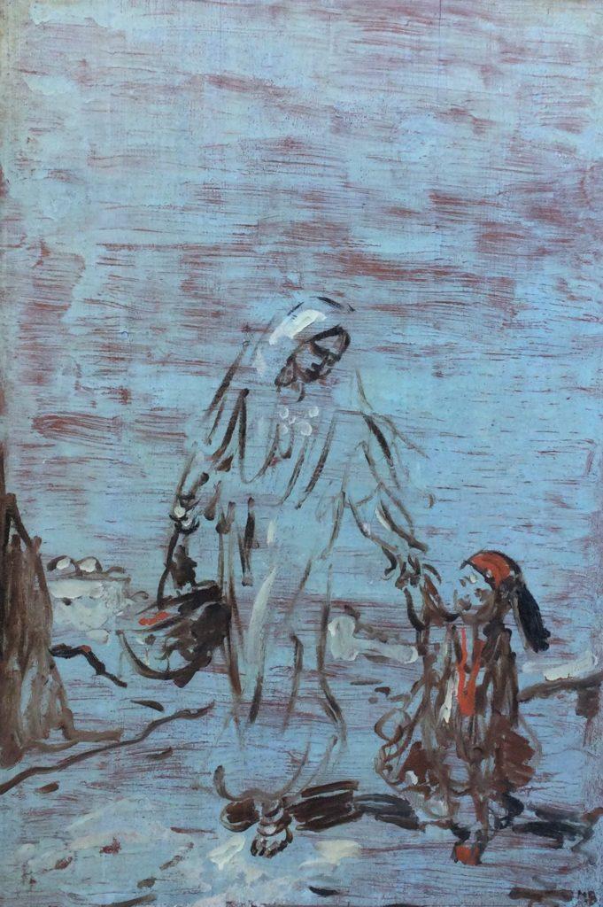 Kunst te koop bij Galerie Wijdemeren van kunstschilder Marius Bauer Moeder met kind olie op paneel, 76.5 x 51.5 cm rechtsonder initialen