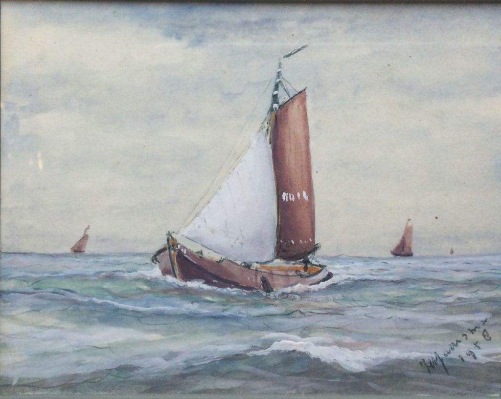 Kunst te koop bij Galerie Wijdemeren van kunstschilder Jaarsma Botter op zee aquarel en gouache op papier, 10.5 x 13.5 cm r.o. gesigneerd en gedateerd 1958