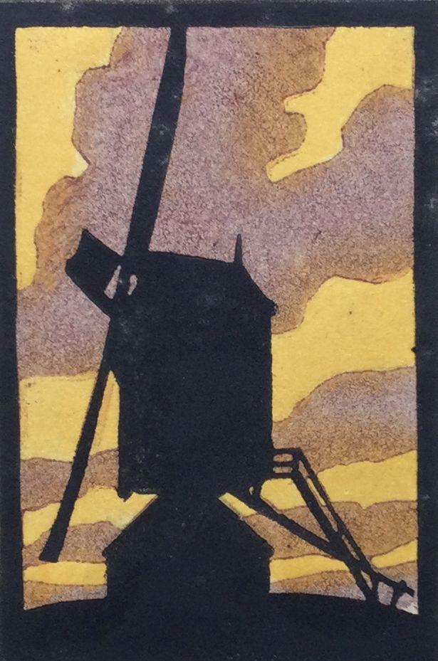 Kunst te koop bij Galerie Wijdemeren van W. de Koning Molen lino/houtsnede, 10 x 6.5 cm r.o. gesigneerd, oplage 5/5