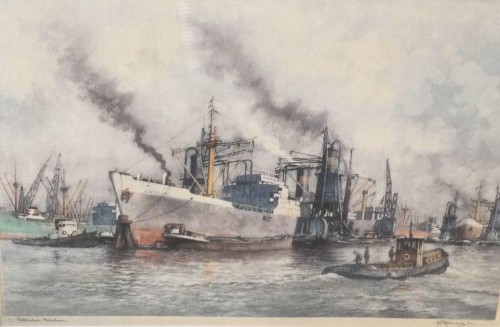 schilderijen te koop van kunstschilder, Roodenburg Haven van Rotterdam ets, r.o. gesigneerd, expositie, galerie wijdemeren breukeleveen