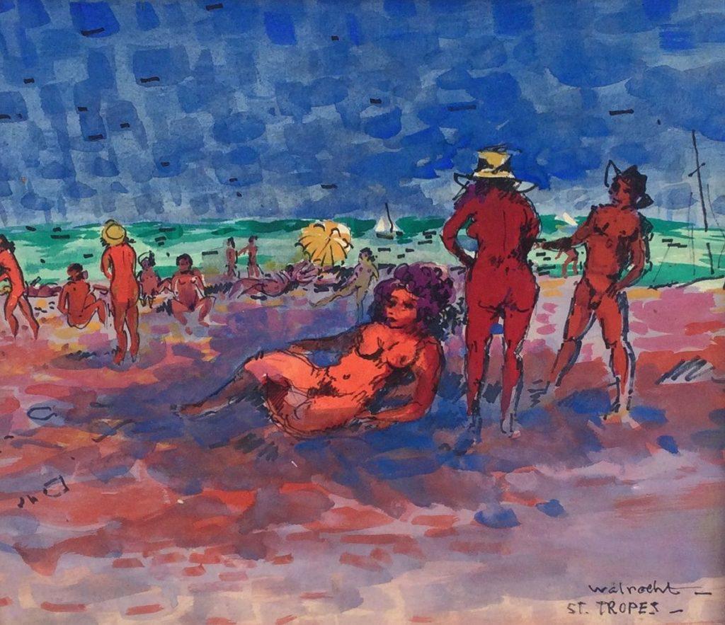 schilderijen te koop van kunstschilder, Walrecht St. Tropez olie op paneel, paneelmaat 30.5 x 35 cm, expositie, galerie wijdemeren breukeleveen