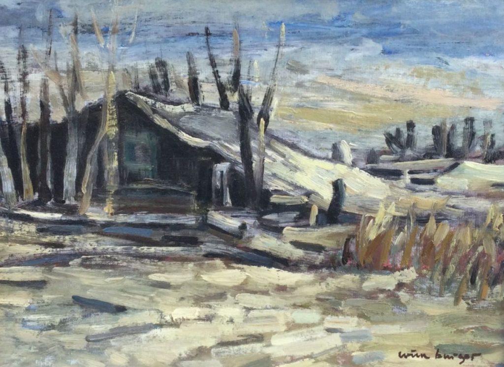 schilderijen te koop van kunstschilder, Wim Burger Winter in Drenthe olie op paneel, paneelmaat 33 x 43 cm rechtsonder gesigneerd en verso gedateerd 1965, expositie, galerie wijdemeren breukeleveen