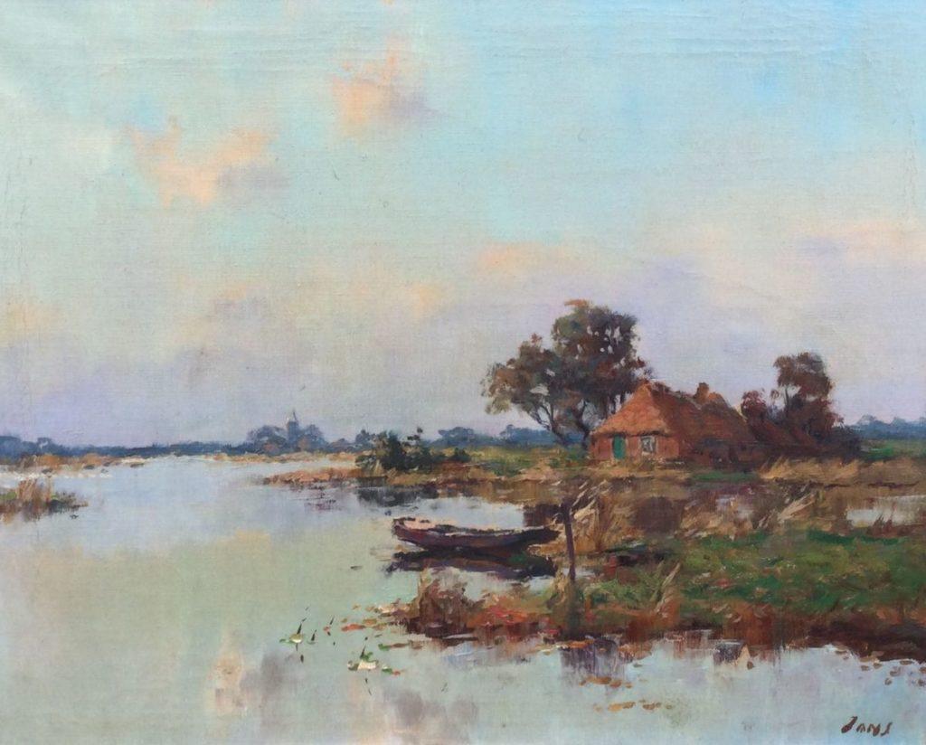 Kunst te koop bij Galerie Wijdemeren van kunstschilder Jans Plasgezicht Kortehoef, met boerderij en visserspraam olie op doek, doekmaat 40 x 50 cm rechtsonder gesigneerd
