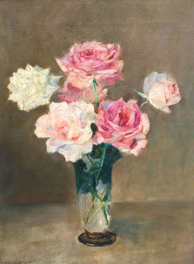 Kunst te koop bij Galerie Wijdemeren van Albert Berend Jans Mulder Stilleven met rozen in kristallen vaas olie op doek, 40 x 30.5 cm linksonder gesigneerd