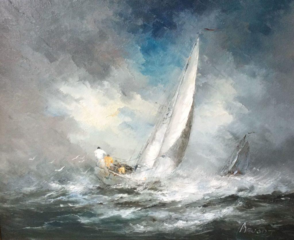 Kunst te koop bij Galerie Wijdemeren van kunstschilder John Bevort Zeilboot olie op doek, 80 x 100 cm rechtsonder gesigneerd