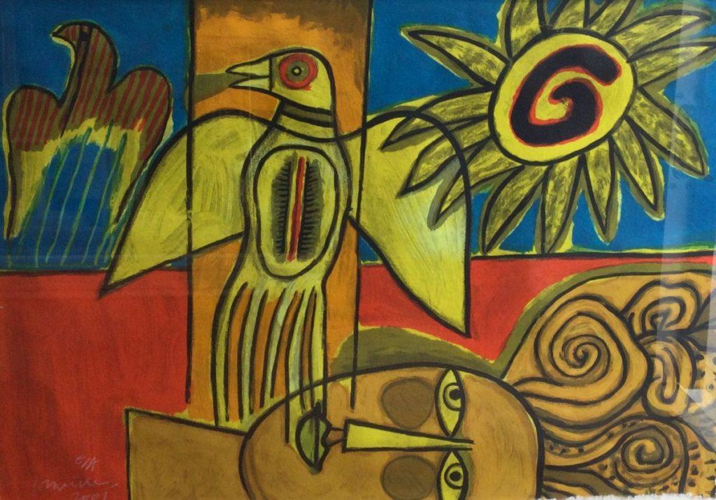 Kunst te koop bij Galerie Wijdemeren, Corneille Voorstelling met figuur, zon en vogel zeefdruk op papier, 51 x 71 cm linksonder handgesigneerd en gedateerd 2001, e/a