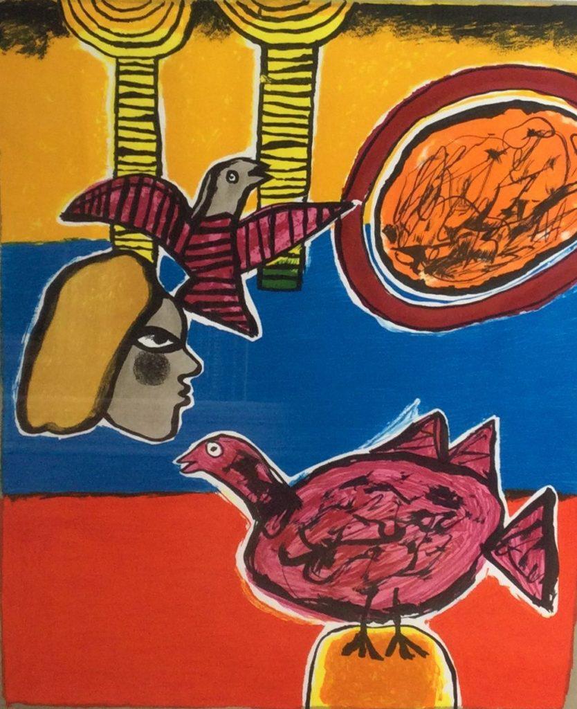 Kunst te koop bij Galerie Wijdemeren van kunstschilder Corneille Voorstelling met figuur en vogels zeefdruk, 56 x 46 cm, e/a, oplage 15/20 rechtsonder handgesigneerd en gedateerd 2001
