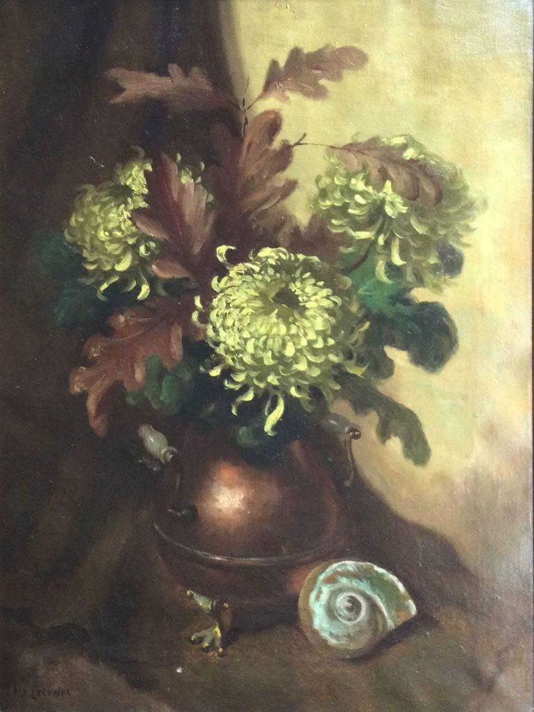Kunst te koop bij Galerie Wijdemeren van kunstschilder H. van Leeuwen Bloemstilleven met Chrysanten olie op doek, 80.5 x 60.5 cm linksonder gesigneerd