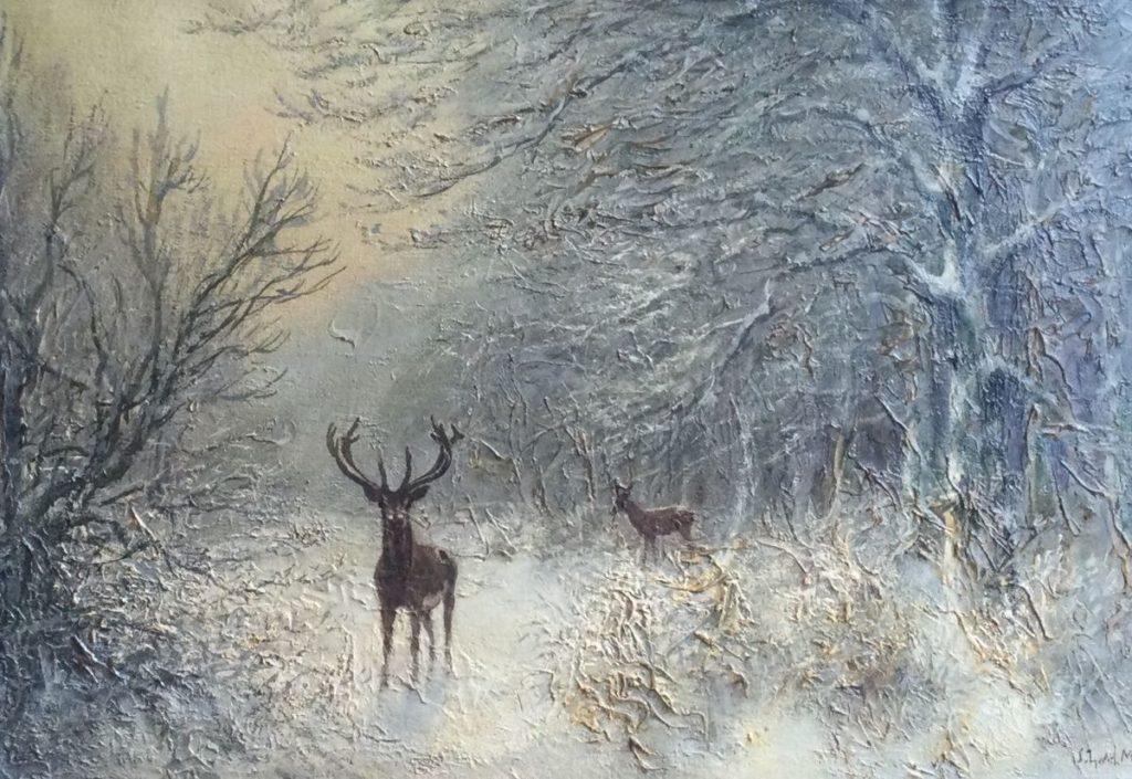 Kunst te koop bij Galerie Wijdemeren van kunstschilder J.L. van der Meide Winterbos met herten in de sneeuw olie op doek, 42 x 62 cm rechtsonder gesigneerd