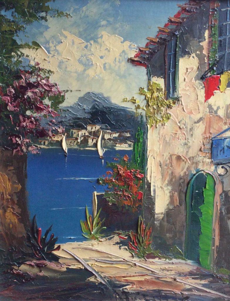 schilderijen te koop Côte d'Azur olie op doek, doekmaat 50 x 40 cm middenonder gesigneerd, expositie, galerie wijdemeren breukeleveen