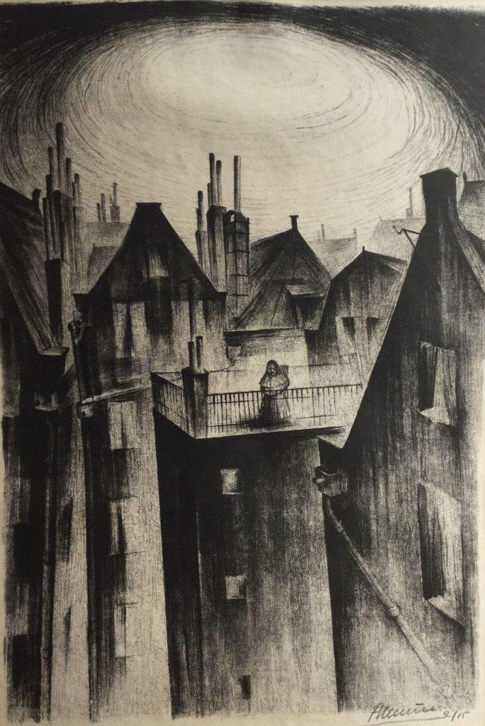 Te koop bij Galerie Wijdemere, Stadsgezicht litho, 47 x 32 cm, oplage 2/15 gesigneerd r.o.