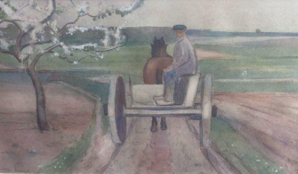 Kunst te koop bij Galerie Wijdemeren van kunstschilder Ton Meyer Rijden met paard en wagen gemengde techniek op papier, 20 x 33.5 cm linksonder gesigneerd