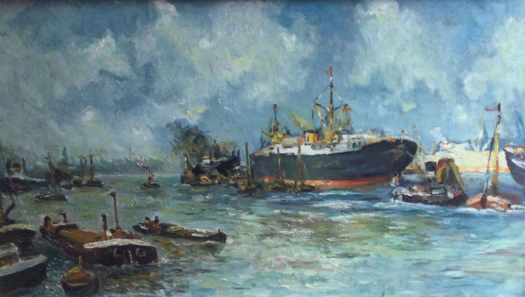 Galerie Wijdemeren, Havengezicht olie op doek, doekmaat 40.5 x 70.5 cm
