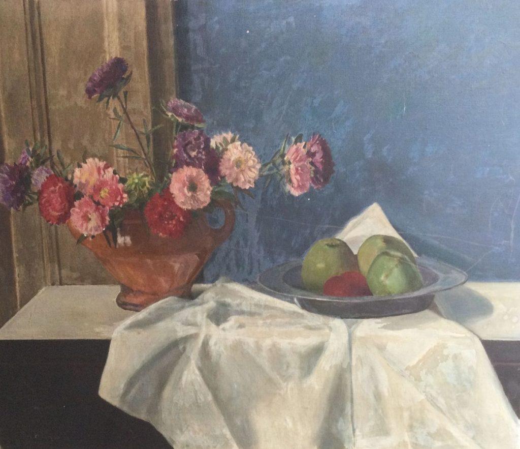 Kunst te koop bij Galerie Wijdemeren van kunstschilder Ton Meyer Bloemstilleven met fruit olie op doek, 56 x 65 cm linksonder gesigneerd