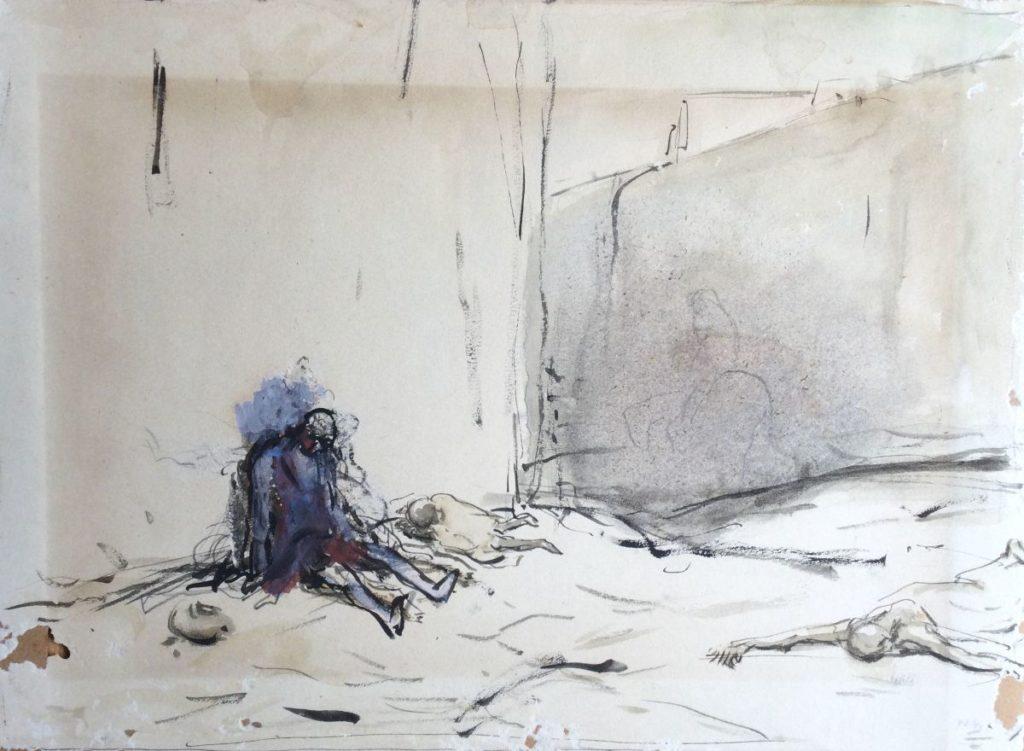 Kunst te koop bij Galerie Wijdemeren van kunstschilder Marius Bauer Bedelaar tegen de muur gemengde techniek op papier, 25 x 33 cm rechtsonder gesigneerd MB