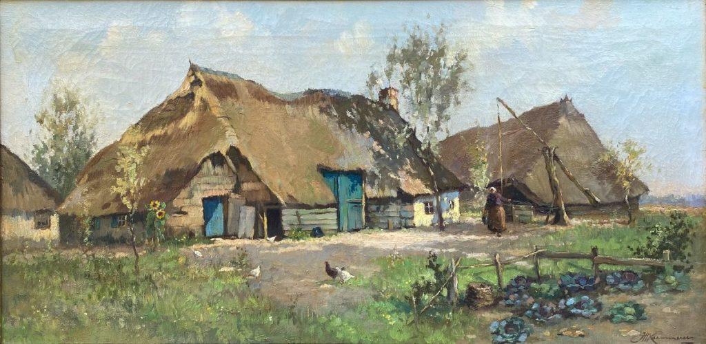 schilderijen te koop van kunstschilder, JH Kaemerer boerderij aan het water olie op doek, gesigneerd, expositie, galerie wijdemeren breukeleveen