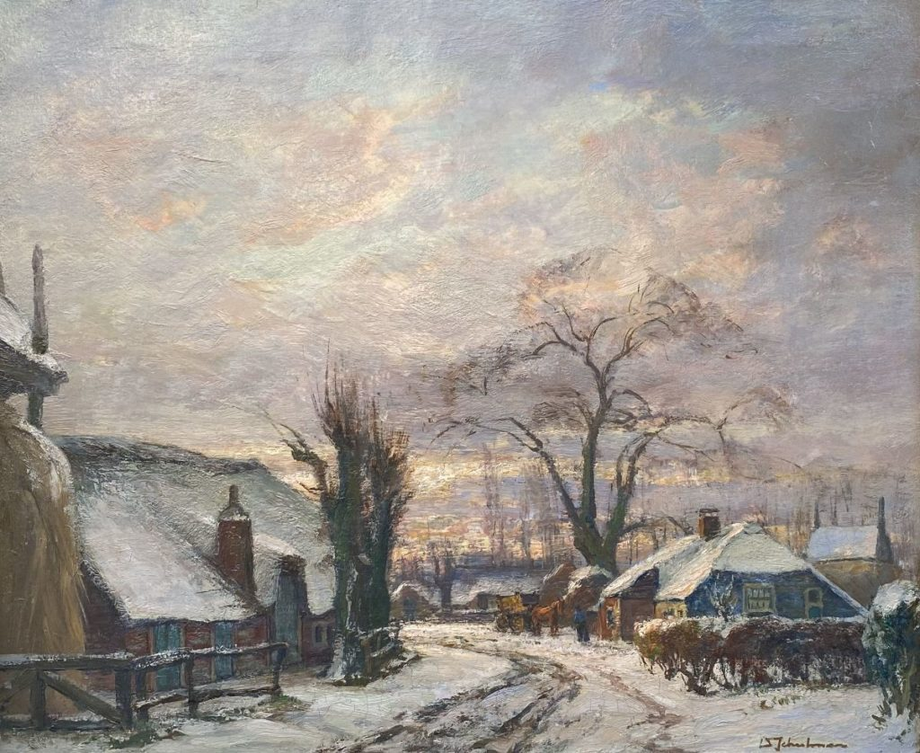 Kunst te koop bij Galerie Wijdemeren van kunstschilder David Schulman Blaricum bij Winter olie op doek rechtsonder gesigneerd