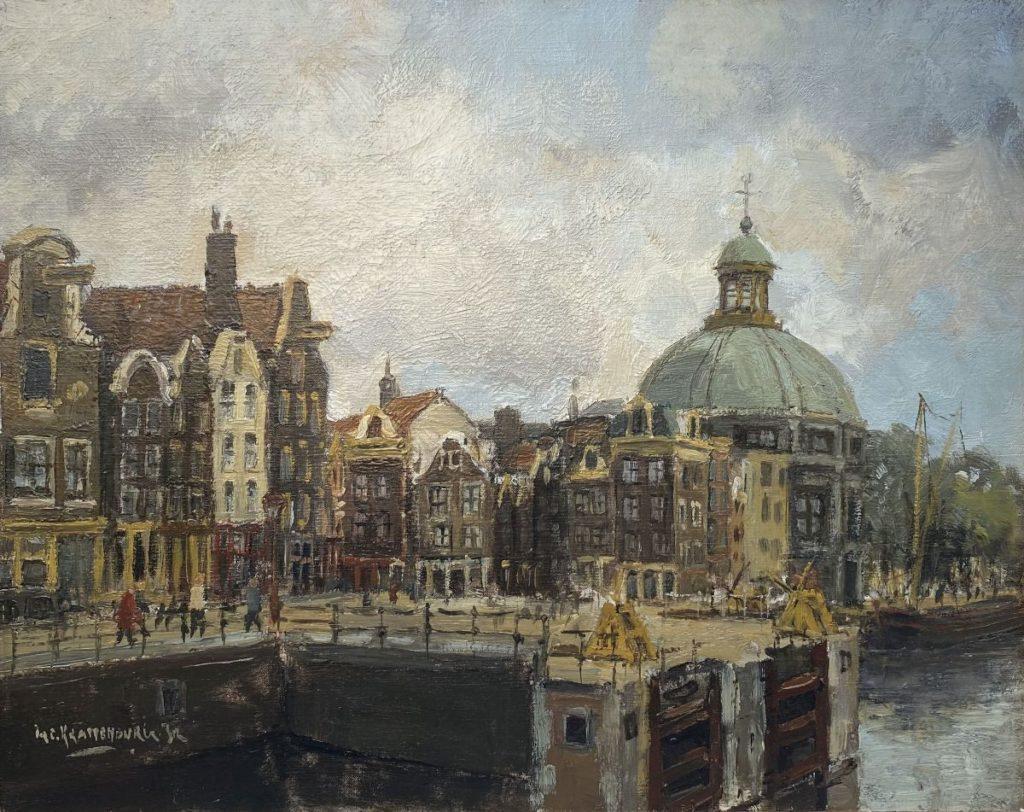 Kunst te koop bij Galerie Wijdemeren van kunstschilder H.C. Kranenburg jr. Sonestakoepel Amsterdam olie op doek rechtsonder gesigneerd