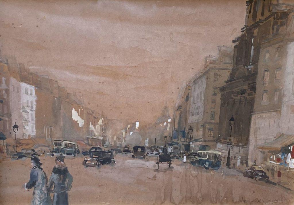 Kunst te koop bij Galerie Wijdemeren van kunstschilder Ben Walrecht Rue St. Antoine Paris gemengde techniek (aquarel, gouache, houtskool) op board, 51.5 x 72.5 cm rechtsonder gesigneerd