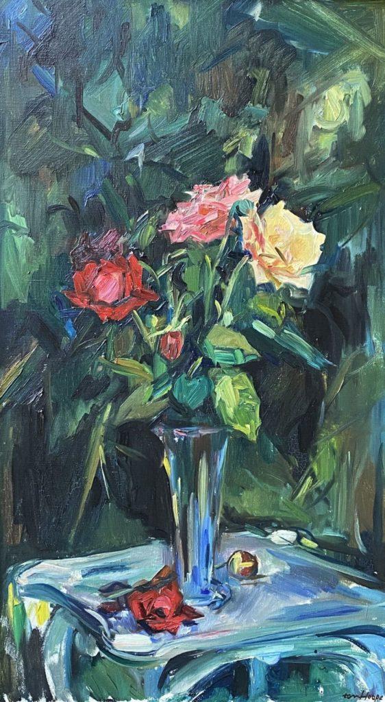 Kunst te koop bij Galerie Wijdemeren van kunstschilder Bob ten Hoope Bloemstilleven olie op doek rechtsonder gesigneerd