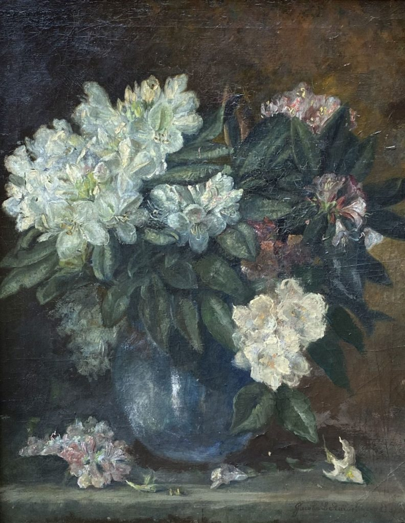 Kunst te koop bij Galerie Wijdemeren van kunstschilder Jacoba L. Stuiveling-van Essen Bloemstilleven olie op doek rechtsonder gesigneerd