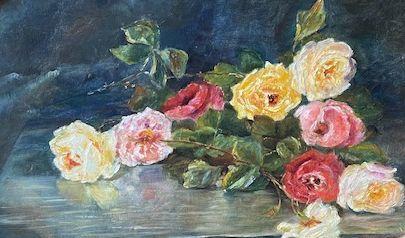 schilderijen te koop,M. Coffin Stilleven met rozen olie op paneel, beeldmaat 44.5 x 58.5 cm rechtsonder gesigneerd, expositie, galerie wijdemeren breukeleveen