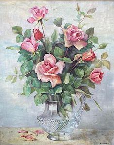 schilderijen te koop van kunstschilder, H. van der Ouderaa Bloemstilleven met rozen olie op doek, doekmaat 50 x 40 cm rechtsonder gesigneerd, expositie, galerie wijdemeren breukeleveen