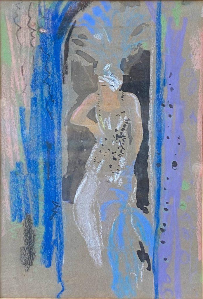 Kunst te koop bij galerie Wijdemeren van kunstschilder Ben Walrecht Showgirl gemengde techniek (inkt en pastel) op papier, 28 x 19 cm