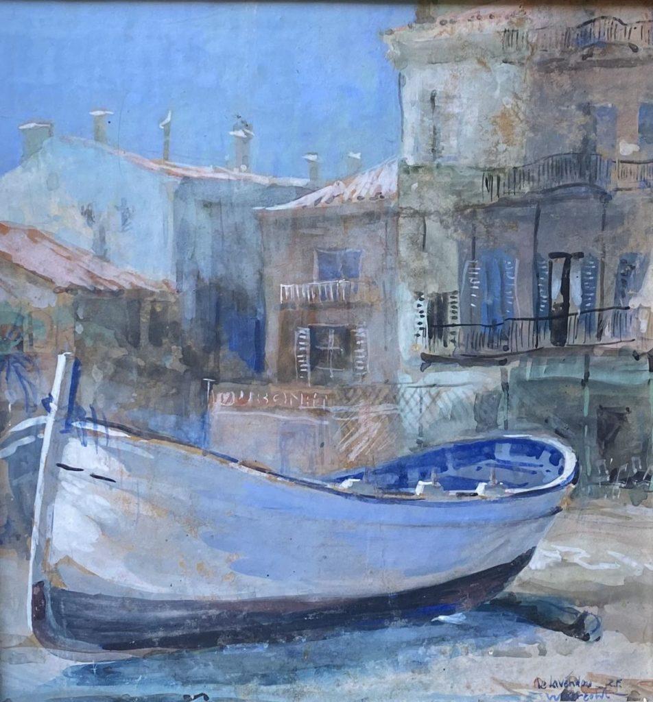 Kunst te koop bij Galerie Wijdemeren van kunstschilder Ben Walrecht Le Lavendou Z.F. gemengde techniek (aquarel en gouache) op karton,29.5x 28.5 cm rechtsonder gesigneerd