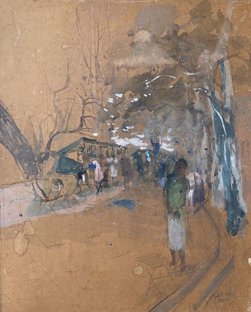Kunst te koop bij Galerie Wijdemeren van kunstschilder Ben Walrecht Pont Neuf Paris gemengde techniek op papier