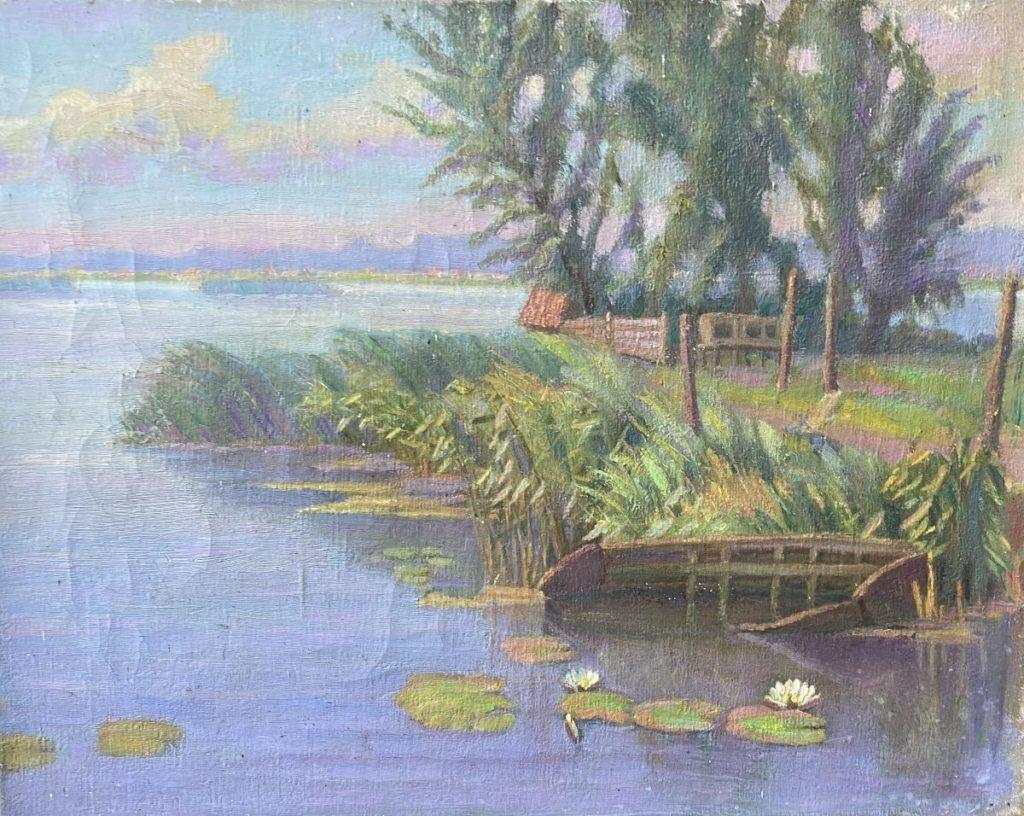 schilderijen te koop van kunstschilder, Willenduijck Plasgezicht met waterlelies olie op doek, doekmaat 41 x 50.5 cm, expositie, galerie wijdemeren breukeleveen