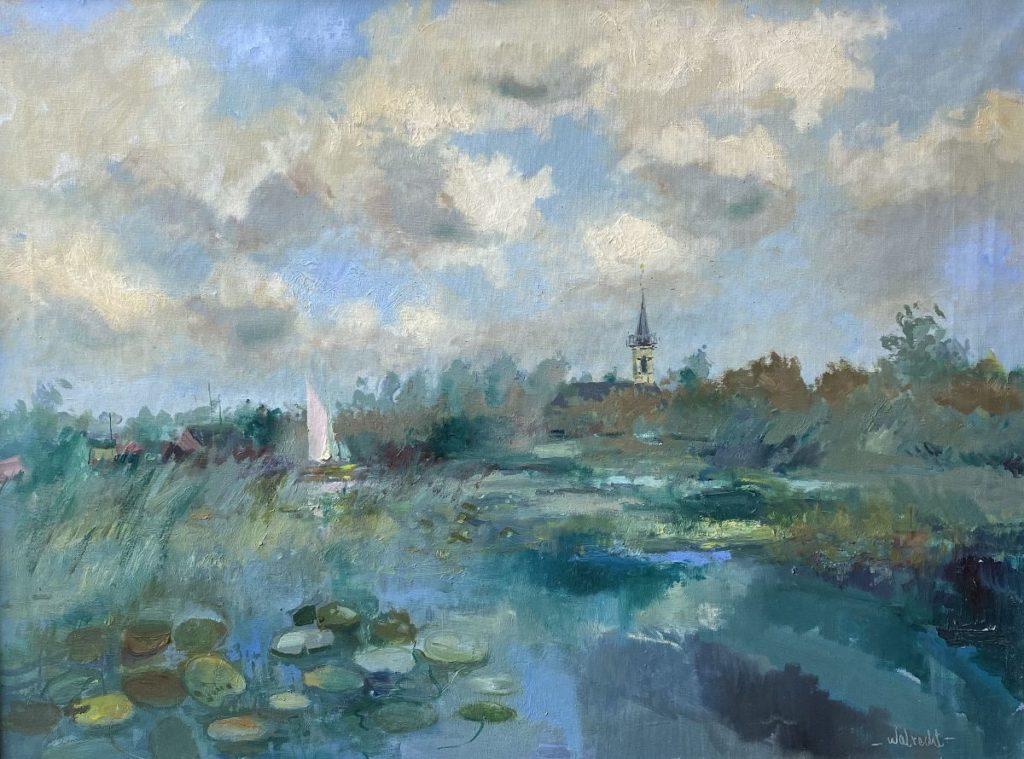 Kunst te koop bij Galerie Wijdemeren van kunstschilder Ben Walrecht Waterlelies in de plas - met zicht op Loosdrecht olie op doek,60 x 80 cm rechtsonder gesigneerd