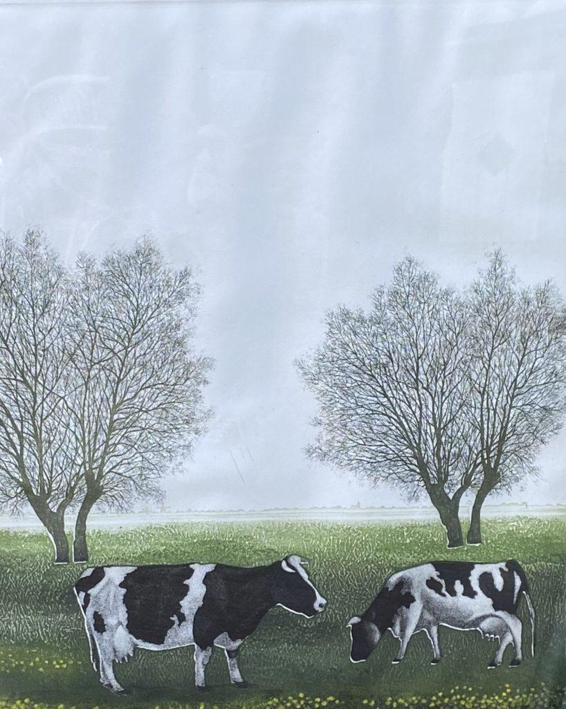 Kunst te koop bij Galerie Wijdemeren van graficus Hans Heijman Holland gras polders tot aan de horizon ets, oplage 8/65 rechtsonder gesigneerd en gedateerd '81
